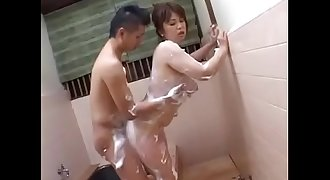 Japanese Mom with big boobs shower